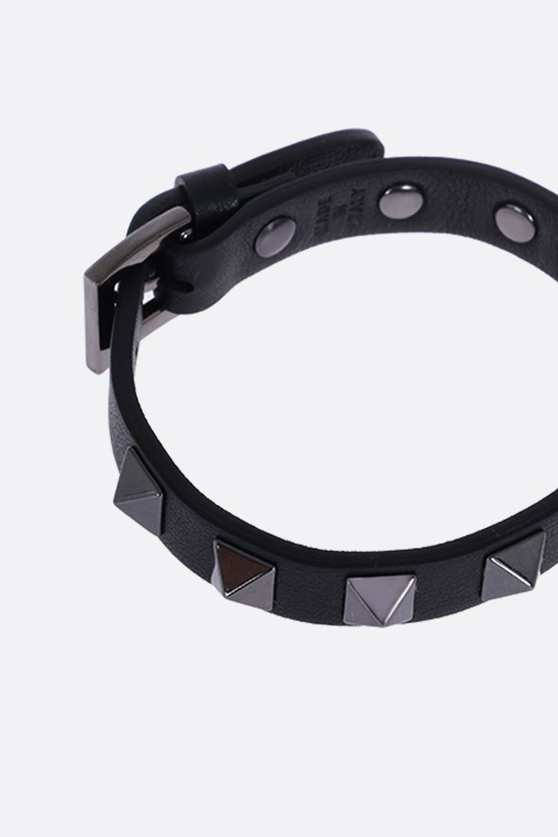 VALENTINO GARAVANI: Rockstud smooth leather bracelet Color Black_2