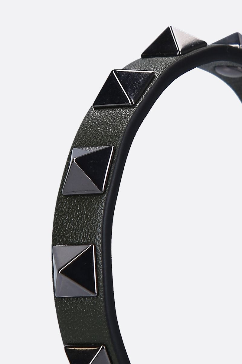VALENTINO GARAVANI: Rockstud smooth leather bracelet Color Green_2