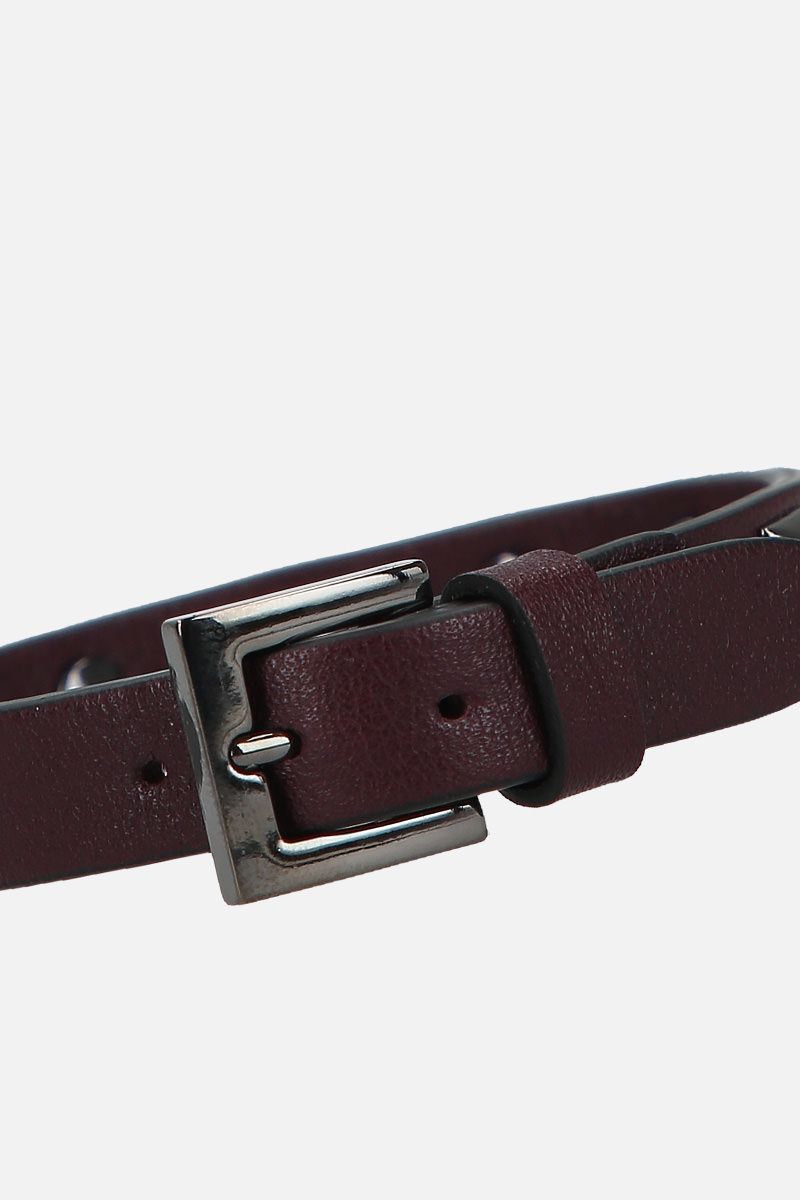 VALENTINO GARAVANI: Rockstud smooth leather bracelet Color Red_2