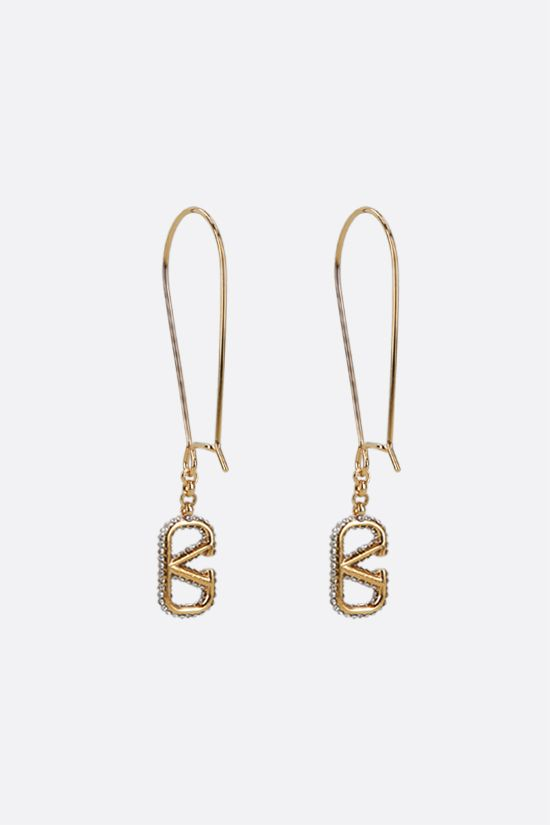 VALENTINO GARAVANI: VLOGO Signature metal and crystal pendant earrings Color Gold_2