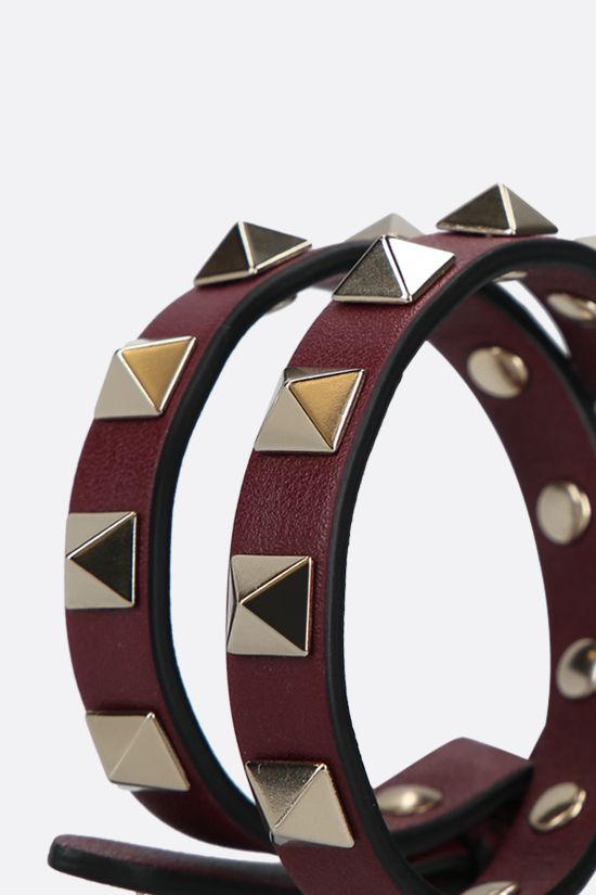 VALENTINO GARAVANI: Rockstud smooth leather double-wrap bracelet Color Purple_2