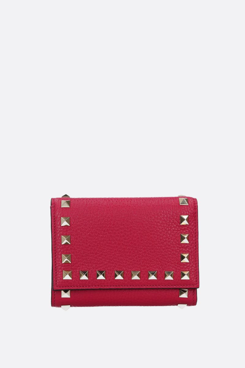 VALENTINO GARAVANI: Rockstud moose embossed leather flap wallet_1