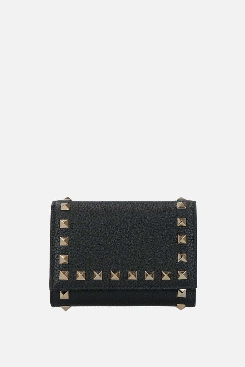 VALENTINO GARAVANI: Rockstud flap wallet in moose embossed leather Color Black_1