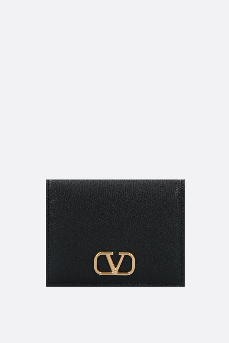 VALENTINO GARAVANI: VLOGO grainy leather french wallet Color Black_1