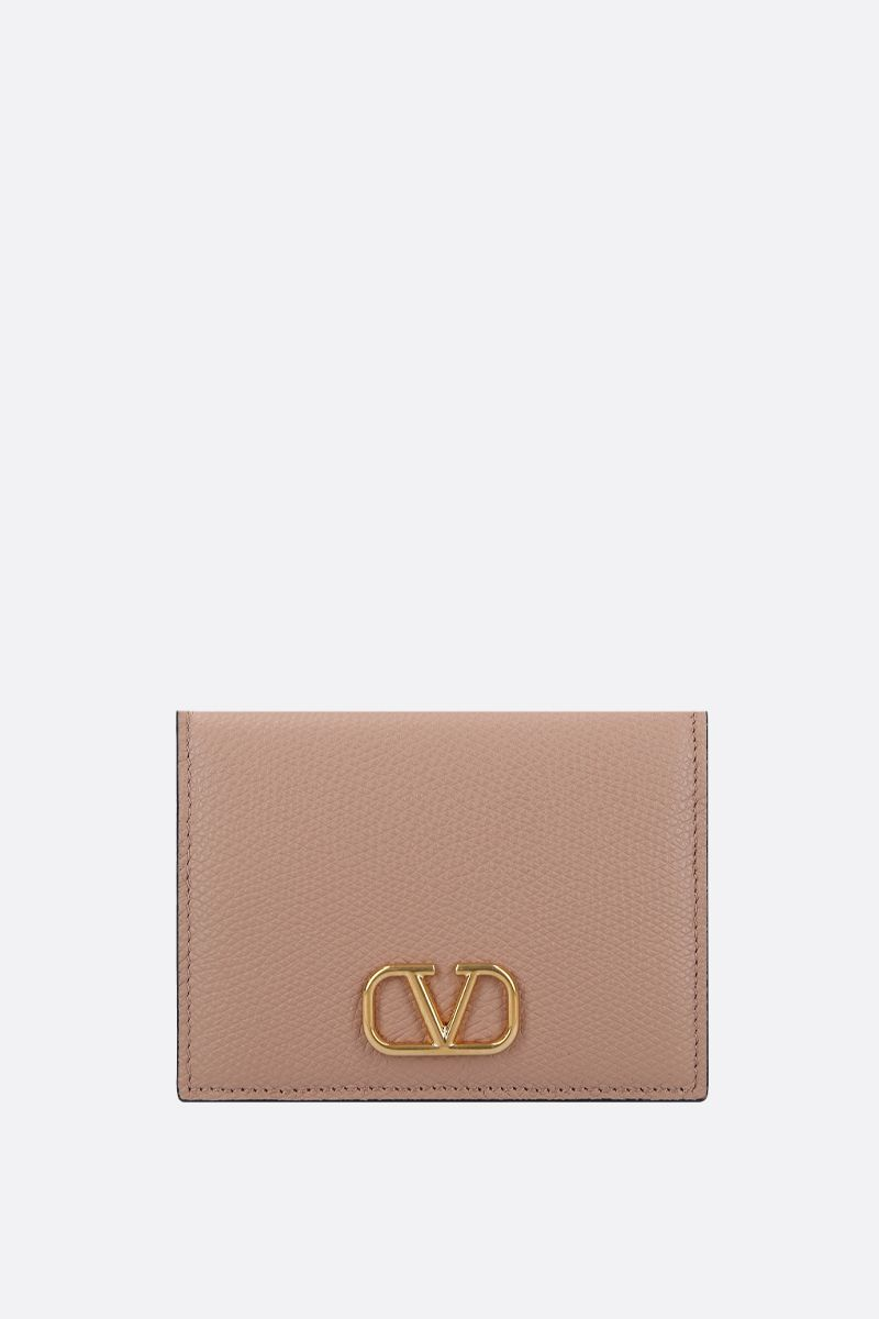 VALENTINO GARAVANI: VLOGO grainy leather french wallet_1