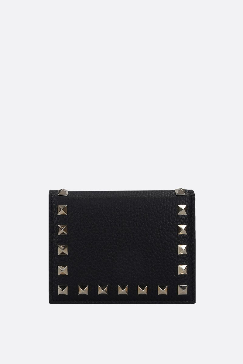 VALENTINO GARAVANI: Rockstud grained leather french wallet Color Black_1