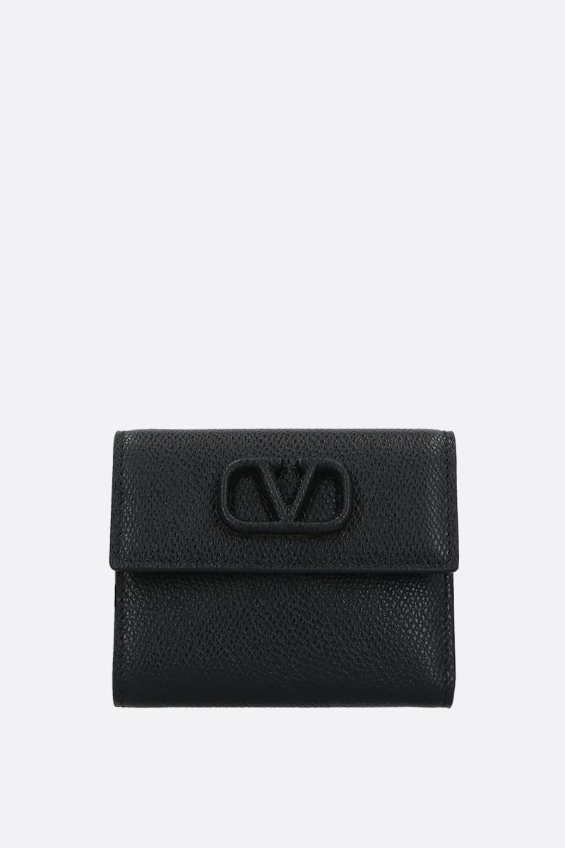 VALENTINO GARAVANI: VSLING grainy leather flap wallet Color Black_1