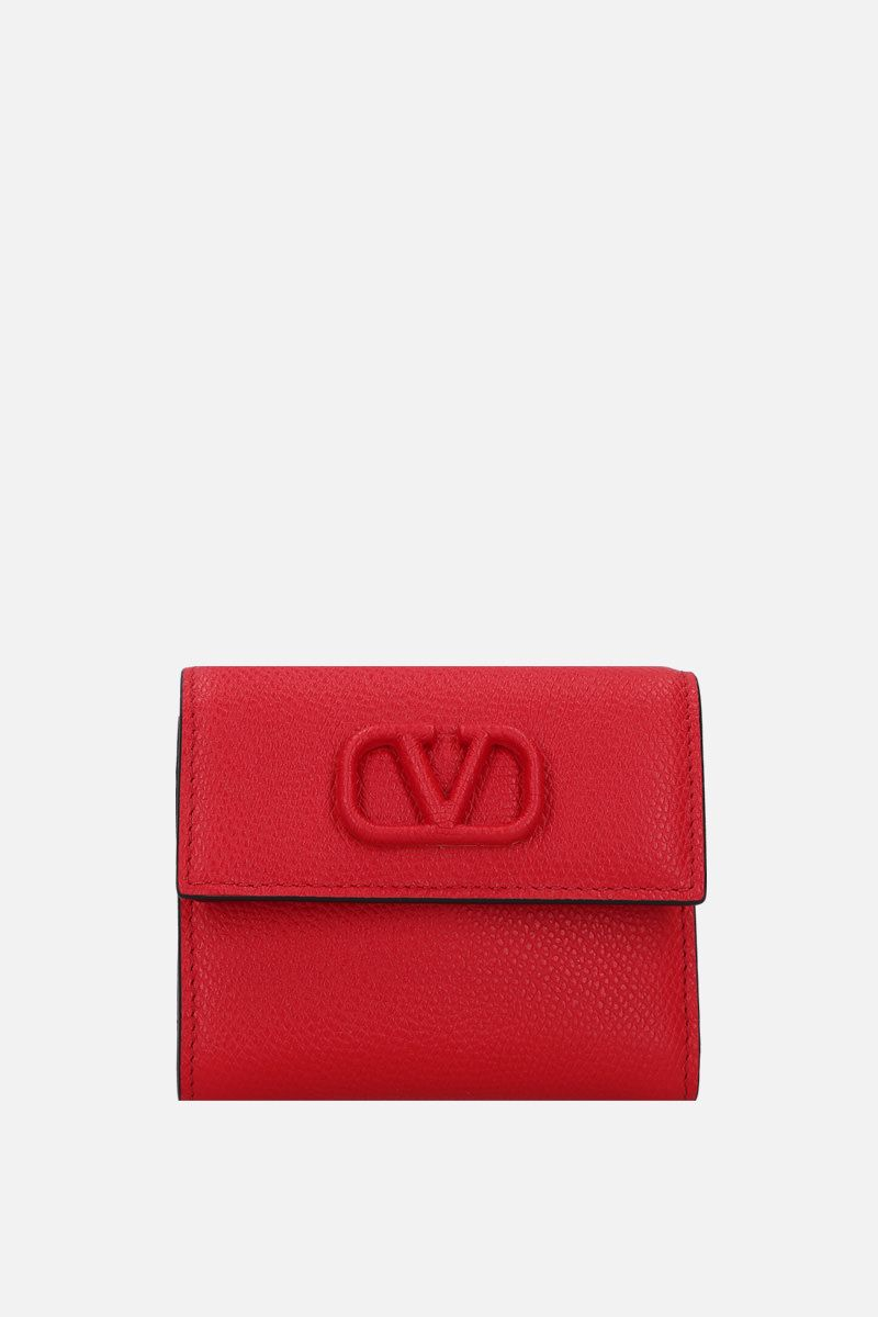VALENTINO GARAVANI: VSLING grainy leather flap wallet Color Red_1
