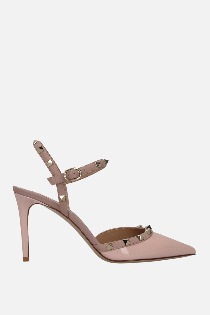 VALENTINO GARAVANI: Rockstud slingbacks in patent and smooth leather Color Pink_1