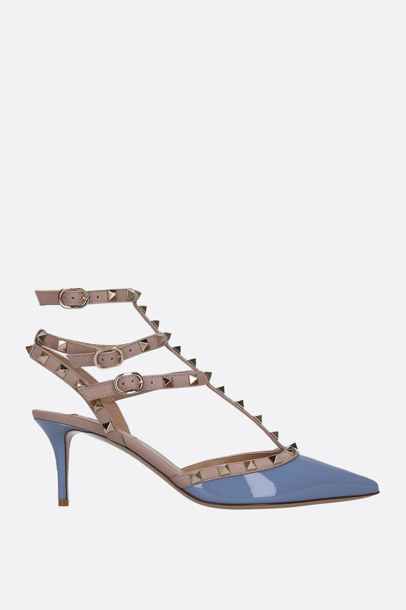 VALENTINO GARAVANI: Rockstud patent and smooth leather slingbacks Color Blue_1