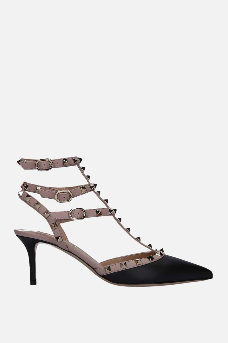 VALENTINO GARAVANI: Rockstud smooth leather slingbacks Color Black_1