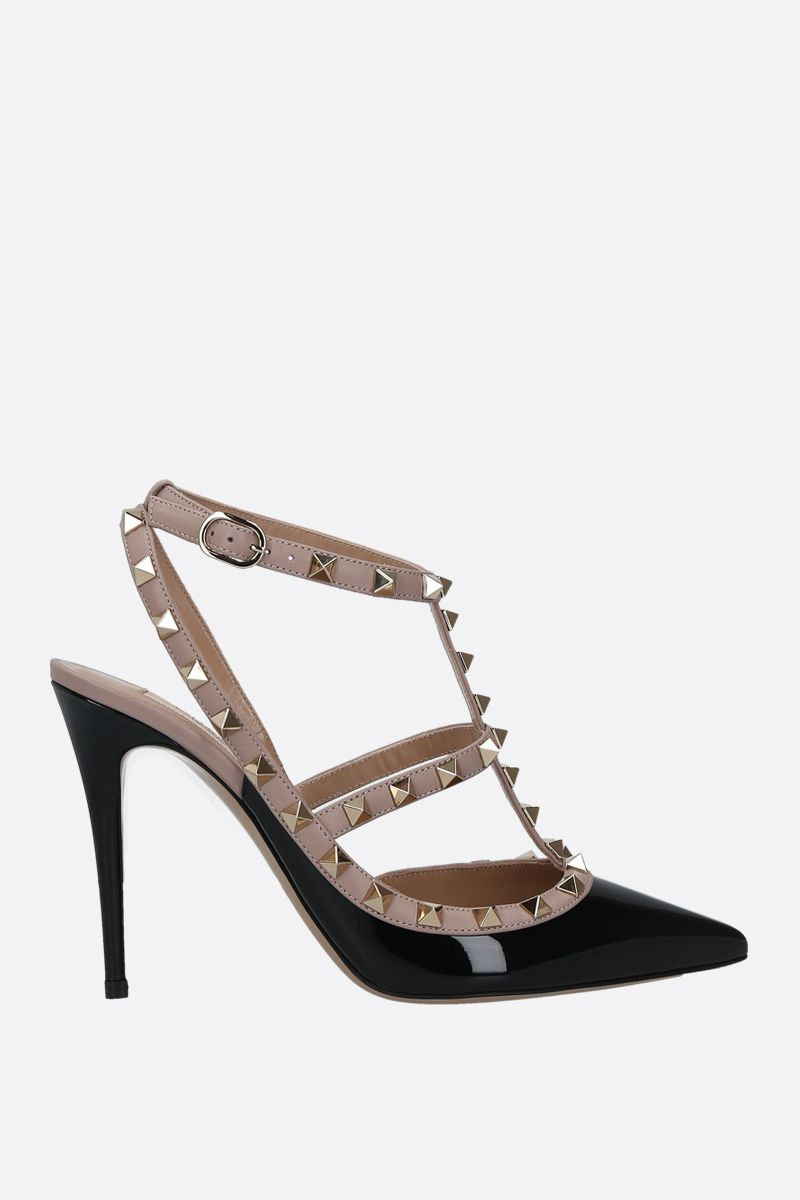 VALENTINO GARAVANI: Rockstud patent and smooth leather slingbacks Color Black_1