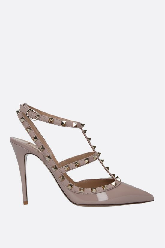 VALENTINO GARAVANI: Rockstud patent and smooth leather slingbacks Color Neutral_1