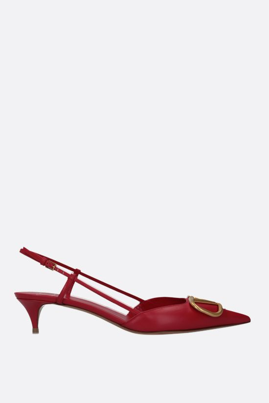 VALENTINO GARAVANI: VLOGO smooth leather slingbacks Color Red_1