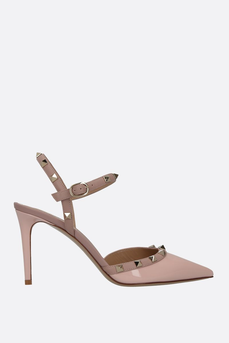 VALENTINO GARAVANI: Rockstud patent and smooth leather slingbacks_1