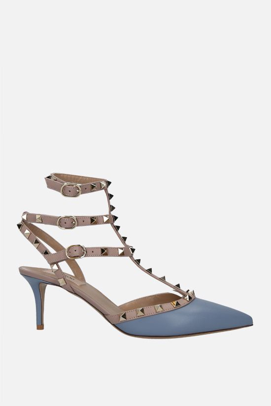 VALENTINO GARAVANI: Rockstud smooth leather slingbacks Color Blue_1