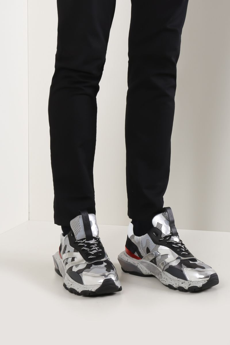 VALENTINO GARAVANI: Bounce Camouflage sneakers in mesh, suede and leather Color White_2