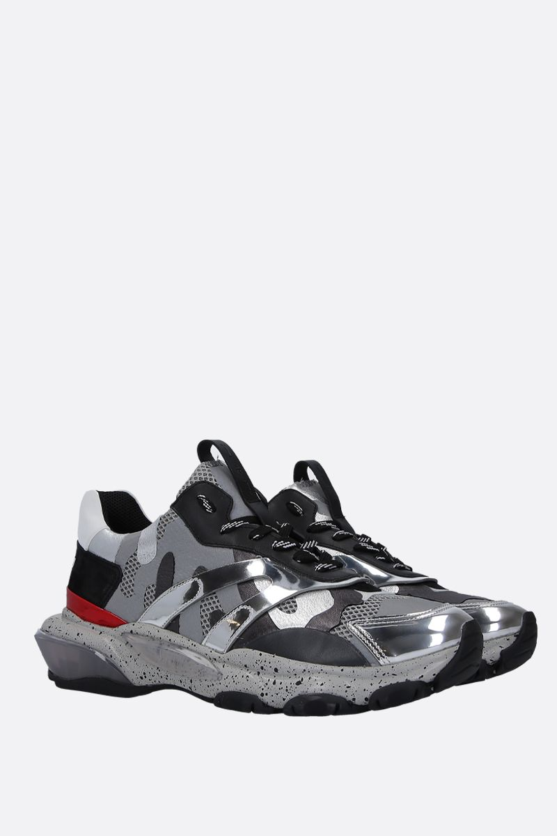 VALENTINO GARAVANI: Bounce Camouflage sneakers in mesh, suede and leather Color White_3