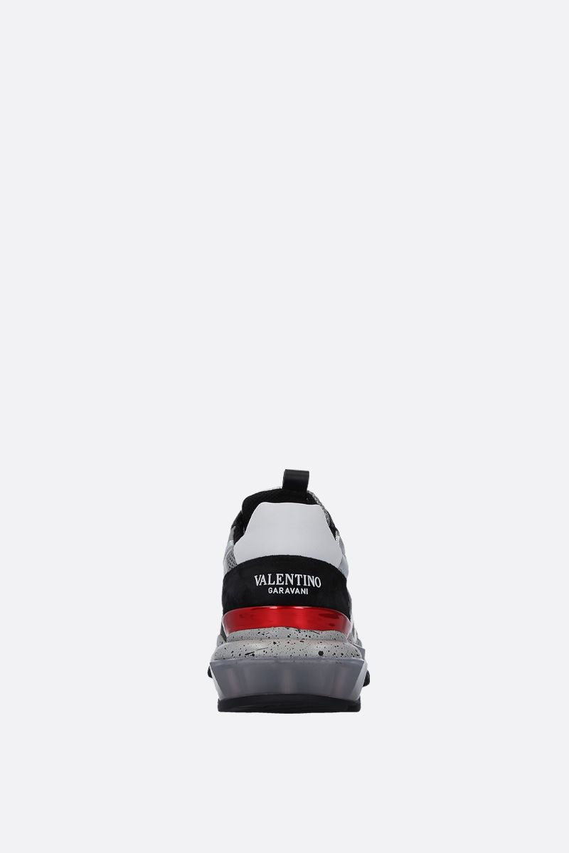 VALENTINO GARAVANI: Bounce Camouflage sneakers in mesh, suede and leather Color White_4