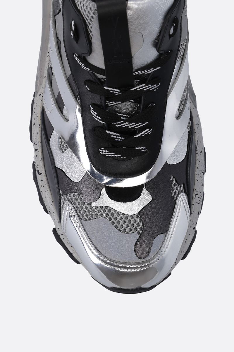 VALENTINO GARAVANI: Bounce Camouflage sneakers in mesh, suede and leather Color White_5