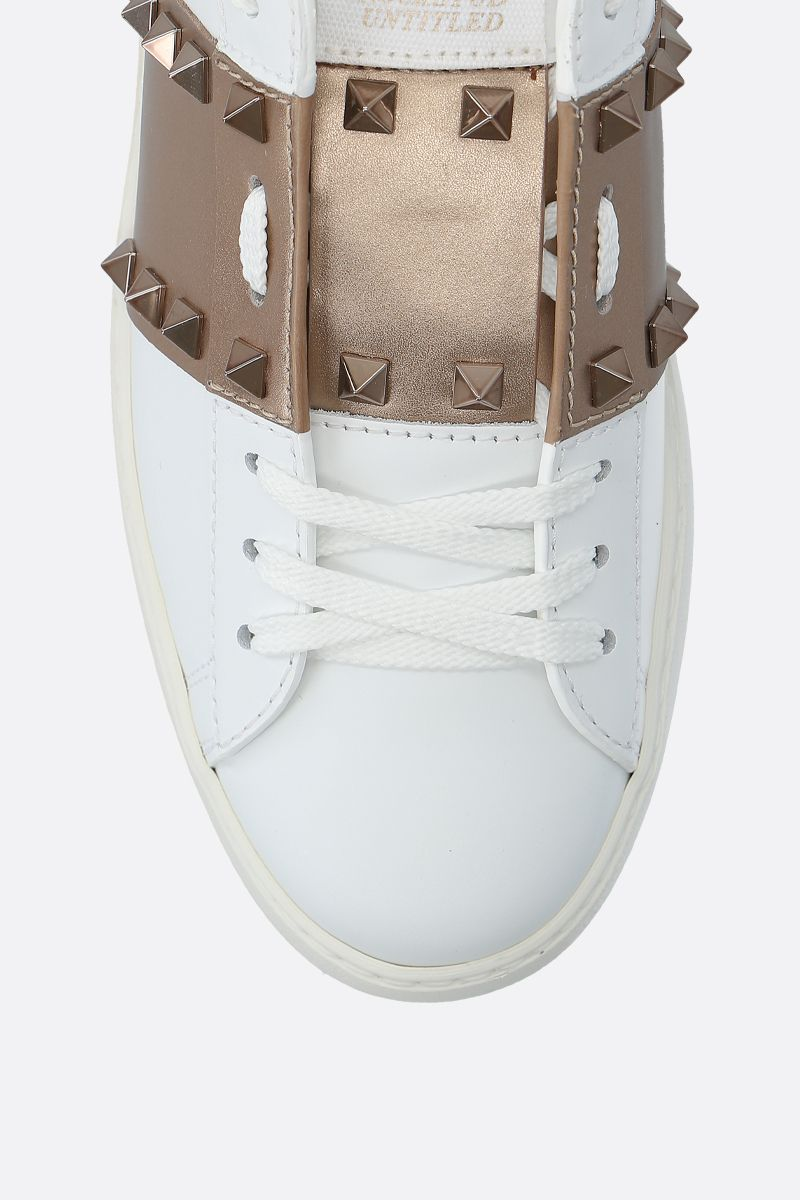VALENTINO GARAVANI: Rockstud Untitled sneakers in smooth leather Color White_4