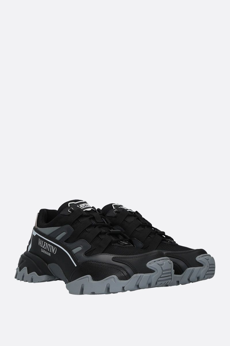 VALENTINO GARAVANI: Climbers sneakers in mesh and smooth leather Color Black_2