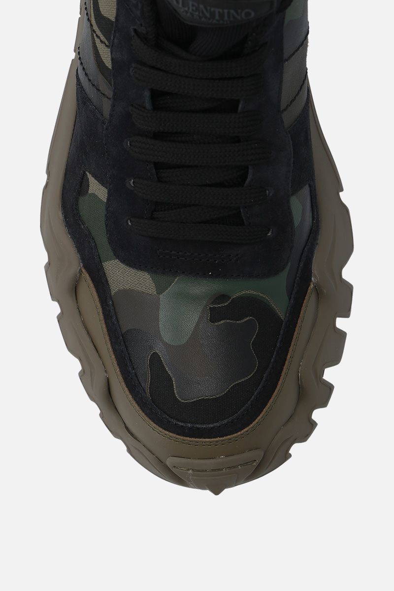 VALENTINO GARAVANI: Rockrunner Plus camouflage canvas sneakers Color Green_4