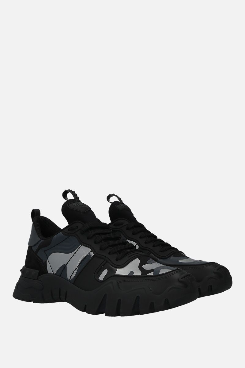 VALENTINO GARAVANI: Rockrunner Plus camouflage canvas sneakers Color Black_2
