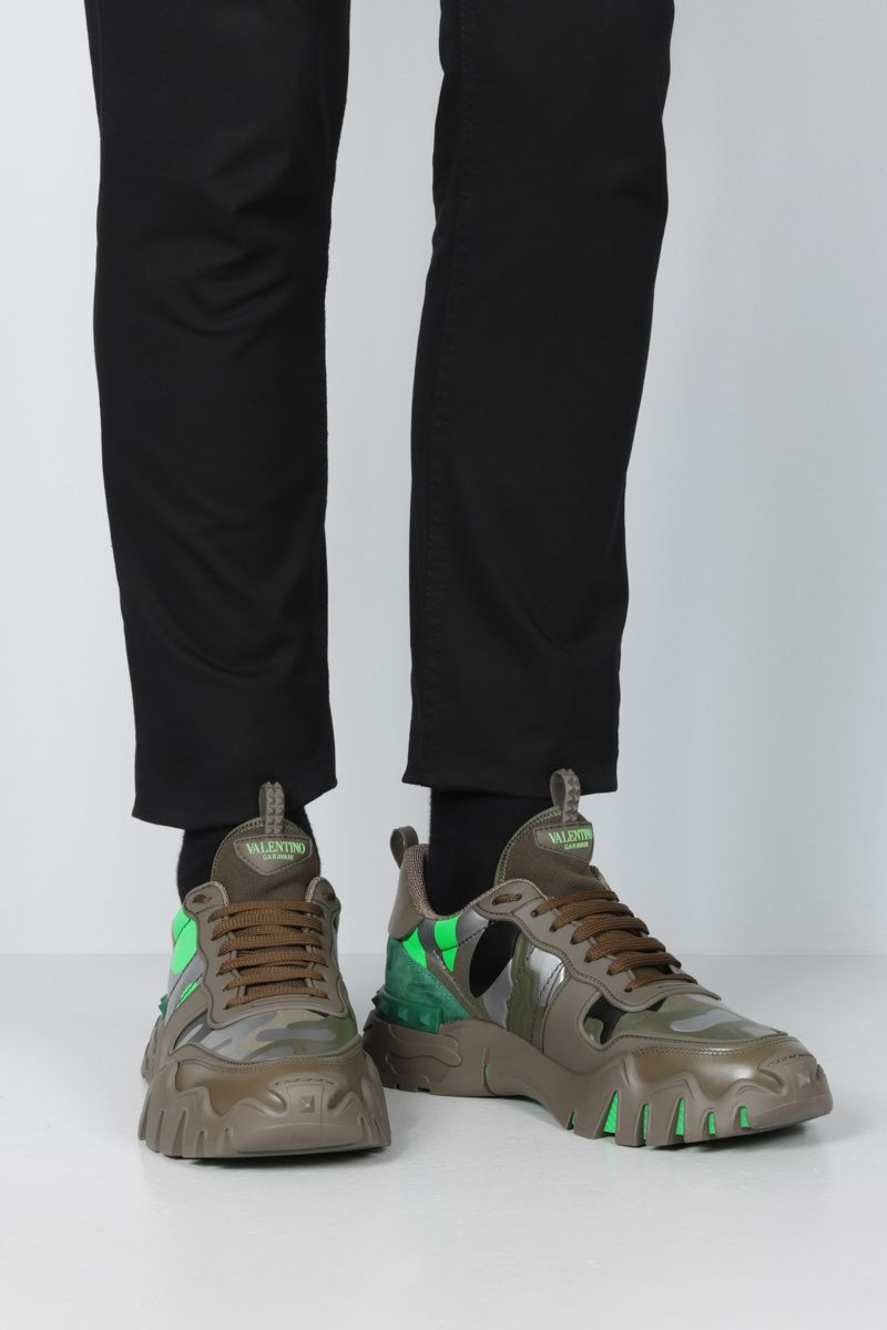 VALENTINO GARAVANI: Rockrunner Plus camouflage canvas sneakers Color Green_2
