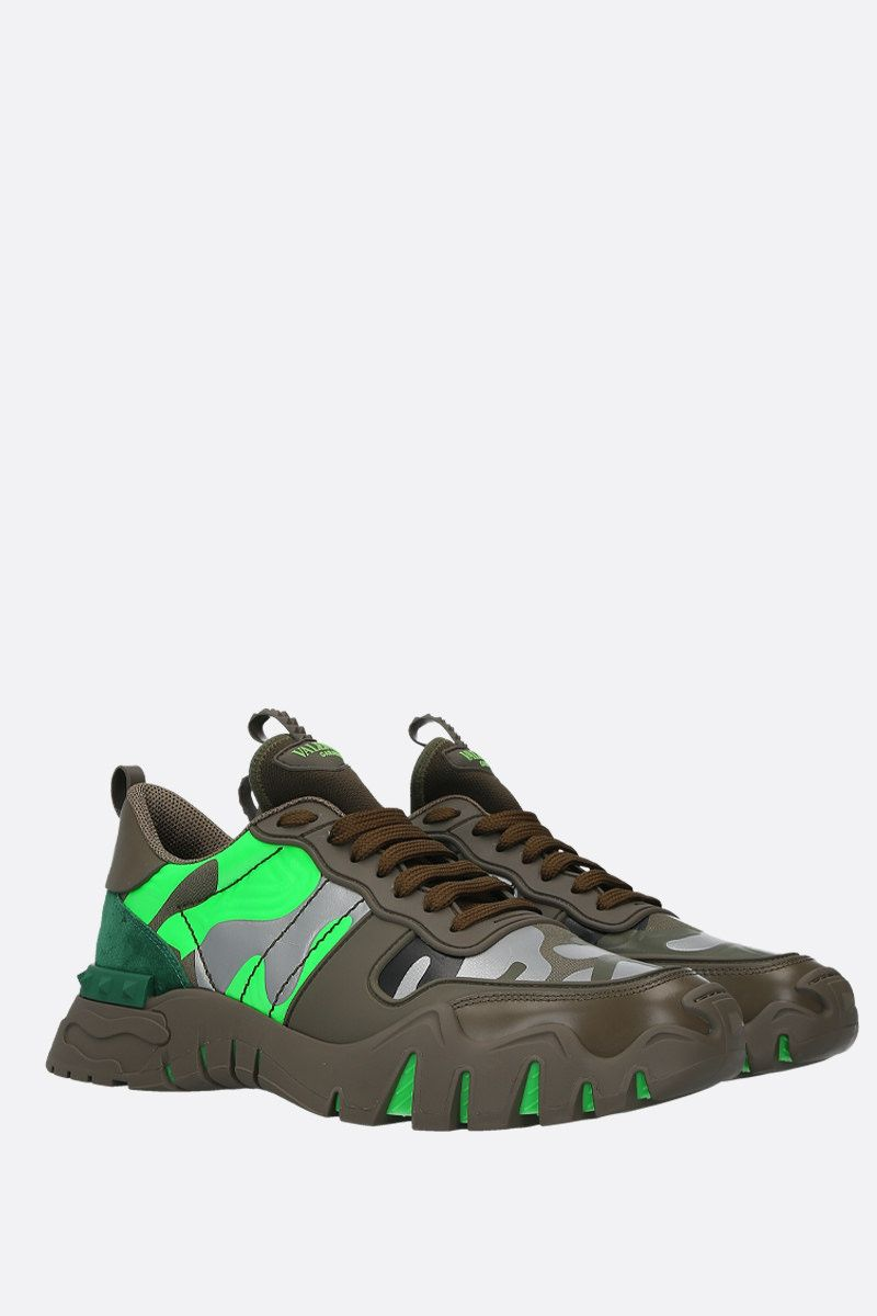 VALENTINO GARAVANI: Rockrunner Plus camouflage canvas sneakers Color Green_3
