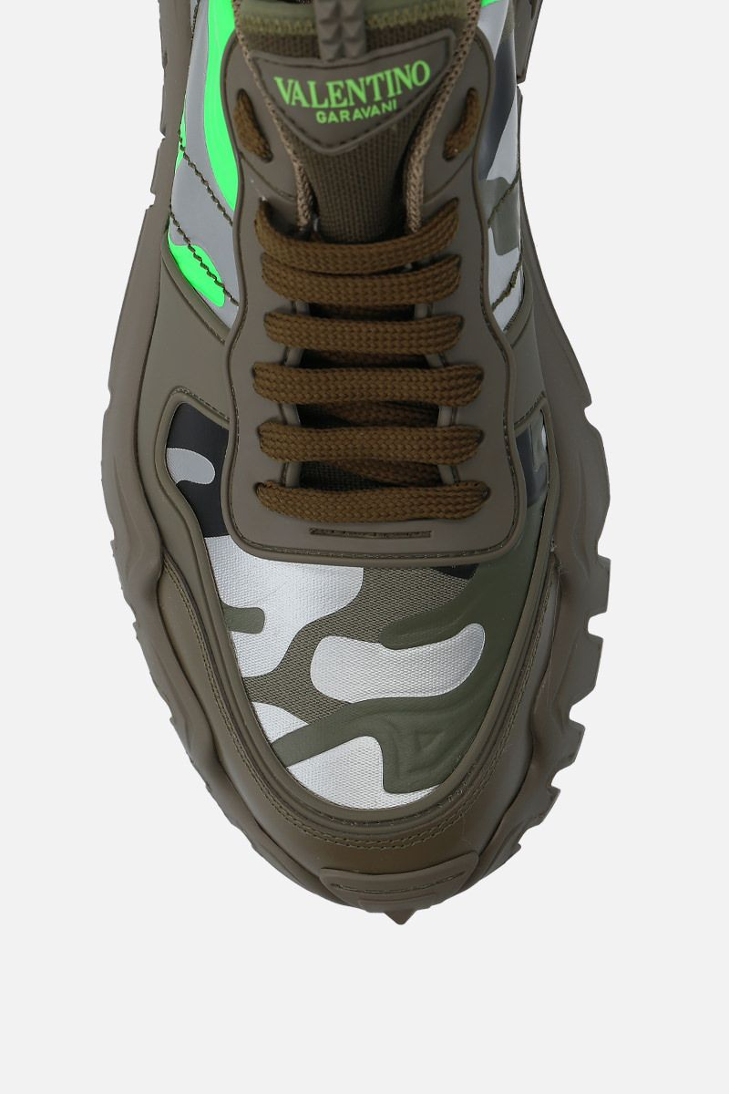 VALENTINO GARAVANI: Rockrunner Plus camouflage canvas sneakers Color Green_5