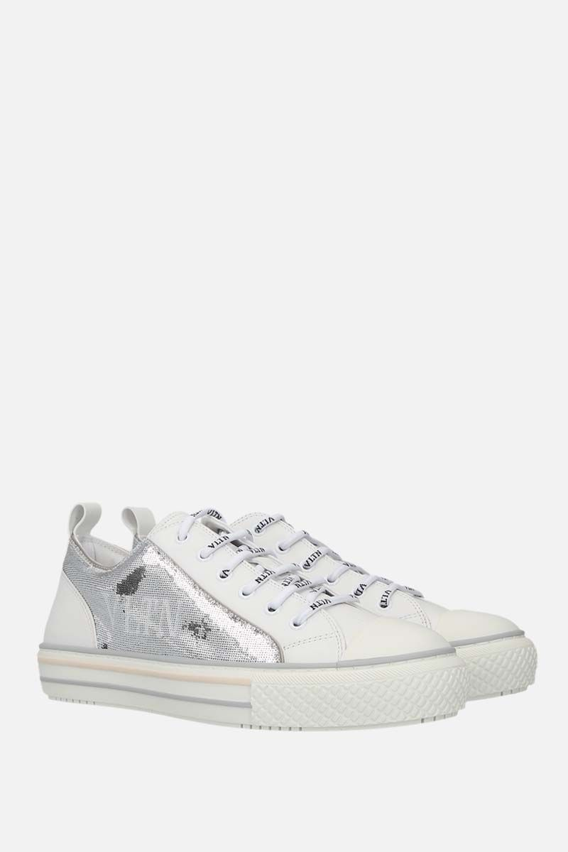 VALENTINO GARAVANI: Giggies VLTN smooth leather and sequins sneakers Color White_2