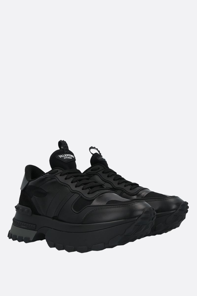 VALENTINO GARAVANI: Rockrunner Up camouflage sneakers in a mix of materials Color Black_2