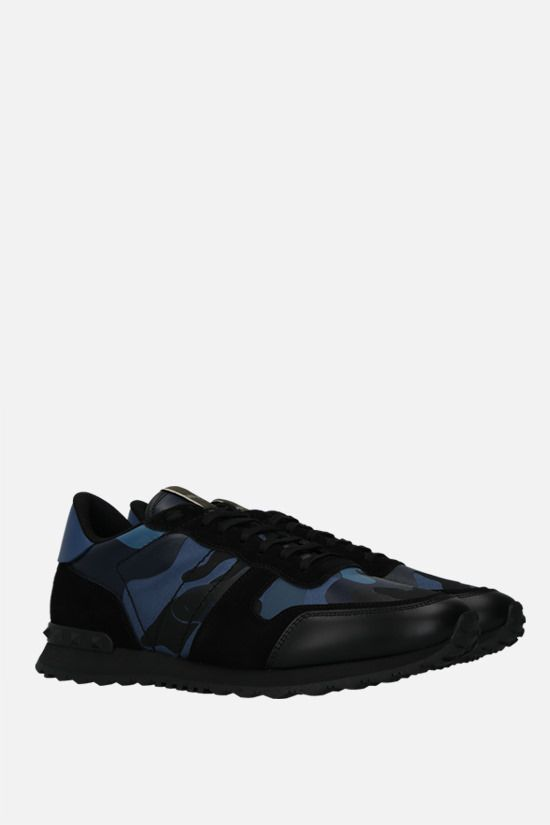 VALENTINO GARAVANI: Rockrunner Camouflage sneakers in a mix of materials Color Blue_2