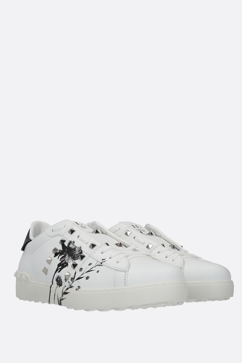 VALENTINO GARAVANI: Rockstud Untitled Flowersity smooth leather sneakers Color Multicolor_2