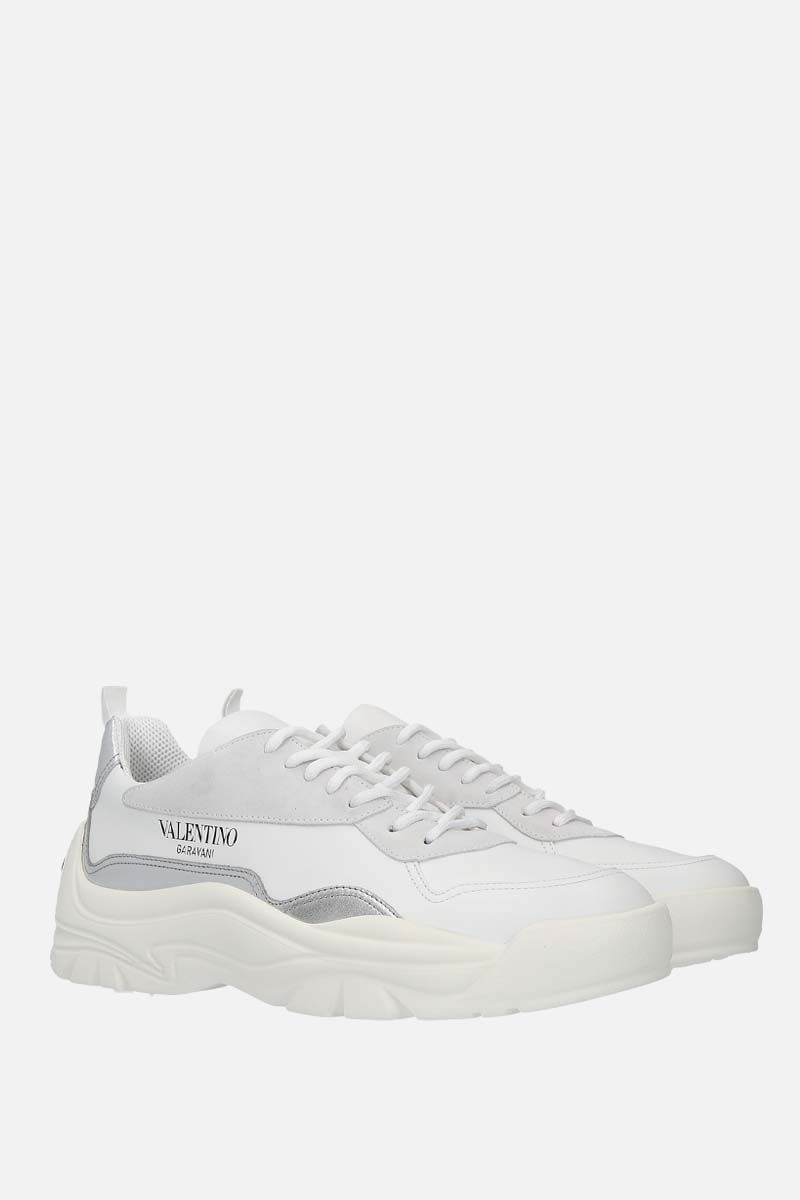 VALENTINO GARAVANI: Gumboy smooth, laminated leather and suede sneakers Color White_2