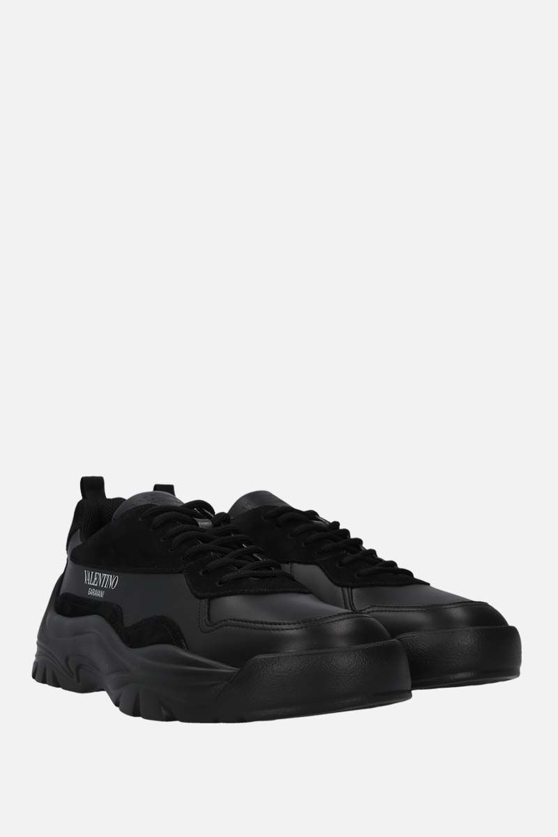 VALENTINO GARAVANI: Gumboy smooth leather and suede sneakers Color Black_2