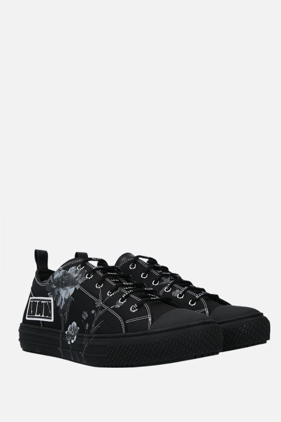VALENTINO GARAVANI: Giggies Flowersity canvas sneakers Color Black_2