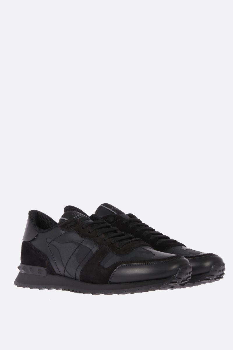 VALENTINO GARAVANI: Rockrunner Noir canvas and nappa sneakers Color Black_2
