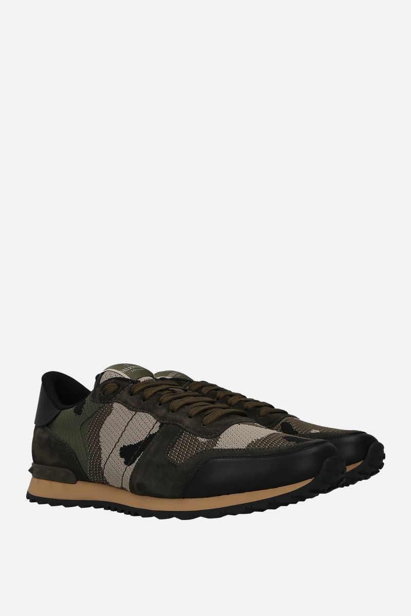 VALENTINO GARAVANI: Rockrunner Camouflage suede and mesh fabric sneakers Color Neutral_2