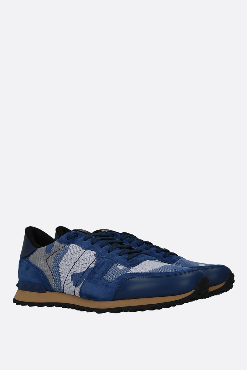 VALENTINO GARAVANI: Rockrunner Camouflage suede and mesh fabric sneakers Color Blue_2