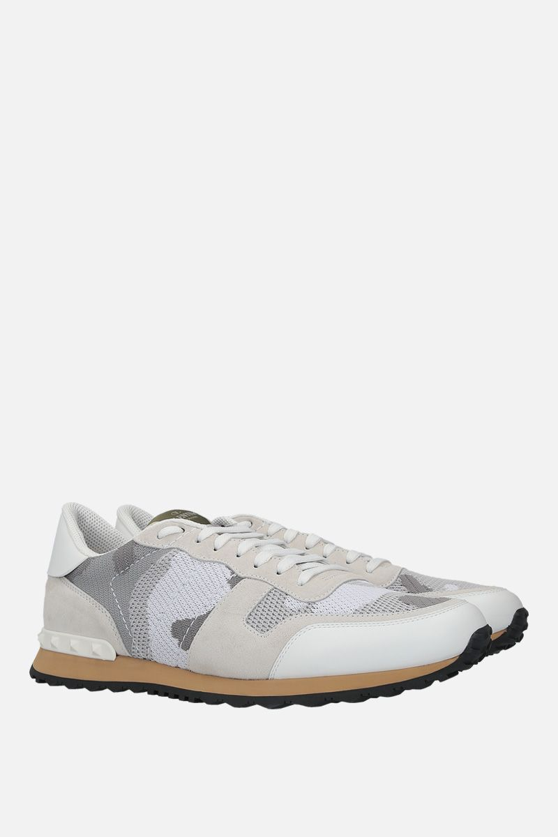 VALENTINO GARAVANI: Rockrunner Camouflage suede and mesh fabric sneakers Color White_2