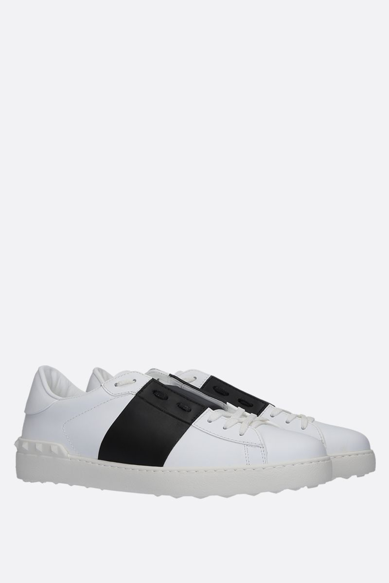 VALENTINO GARAVANI: Open smooth leather sneakers Color White_2