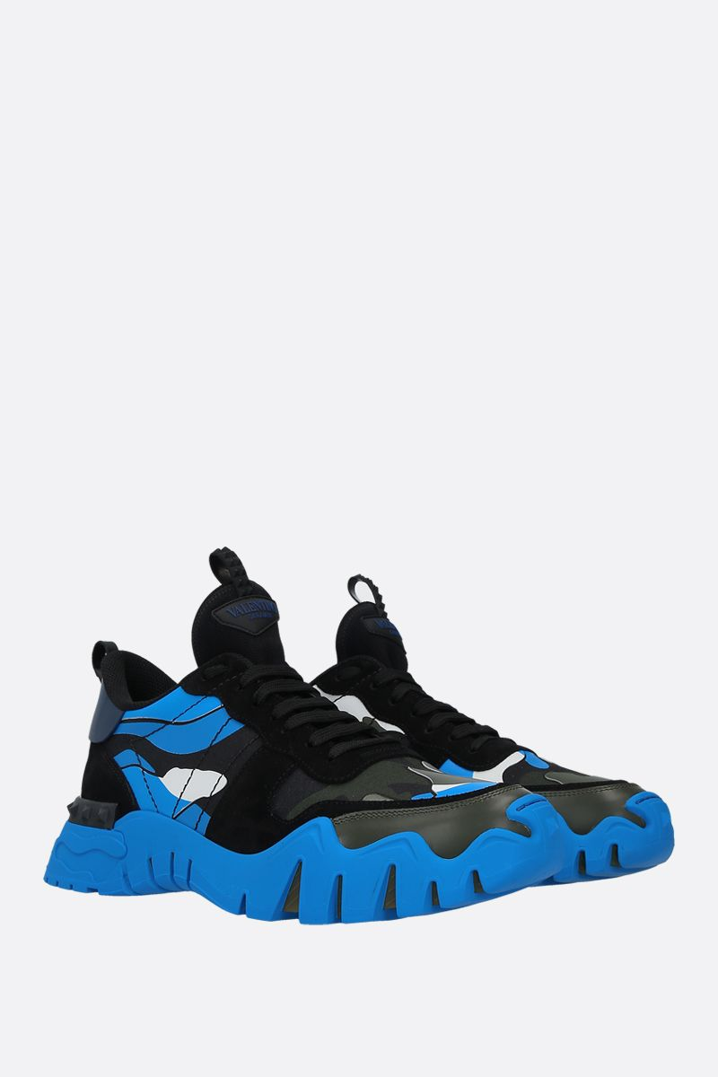 VALENTINO GARAVANI: Rockrunner Plus Camouflage sneakers in a mix of materials Color Black_2