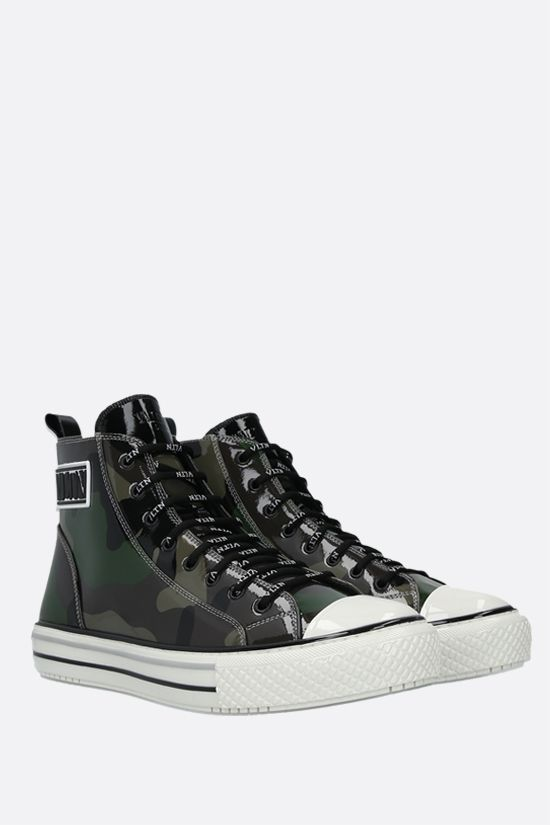 VALENTINO GARAVANI: Giggies VLTN camouflage patent leather sneakers Color Green_2