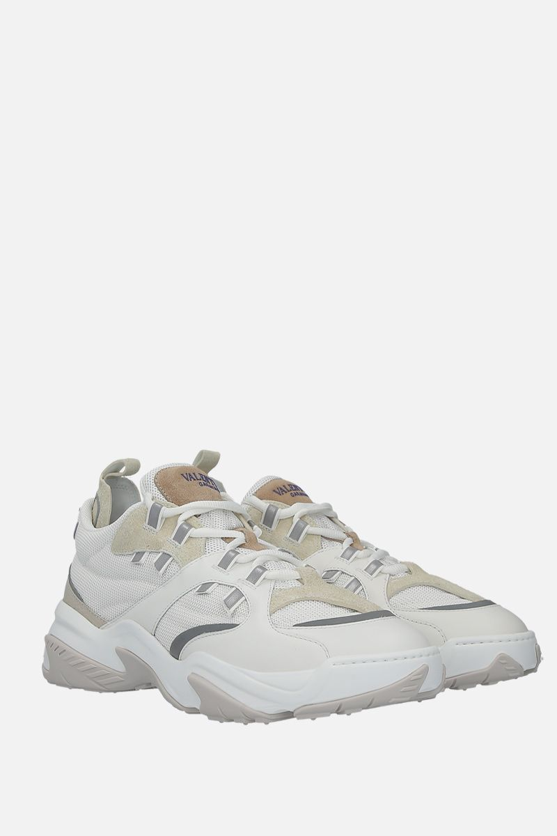VALENTINO GARAVANI: technical fabric and leather low-top sneakers Color White_2