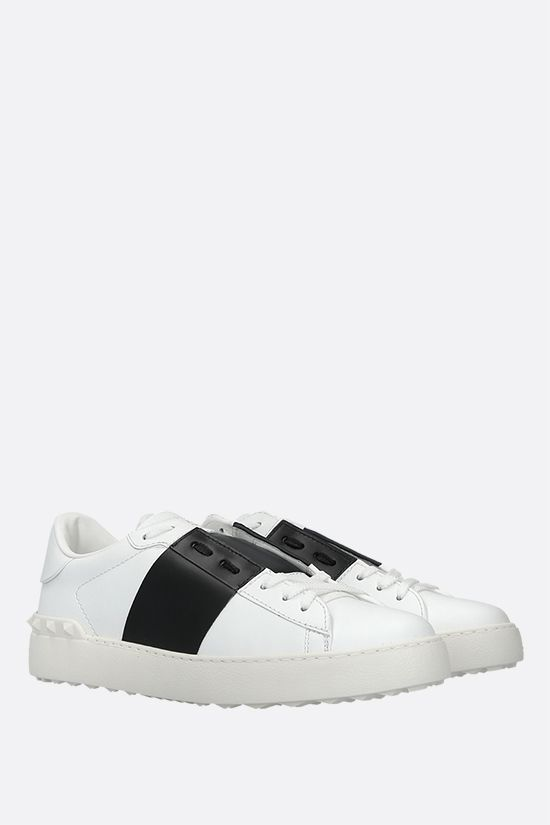 VALENTINO GARAVANI: Open smooth leather sneakers Color Grey_2