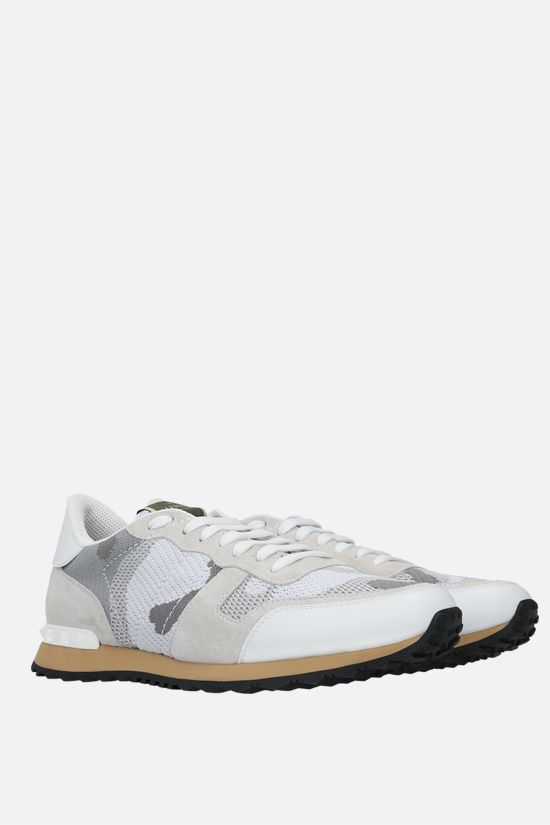 VALENTINO GARAVANI: Rockrunner Camouflage suede and mesh sneakers Color White_2
