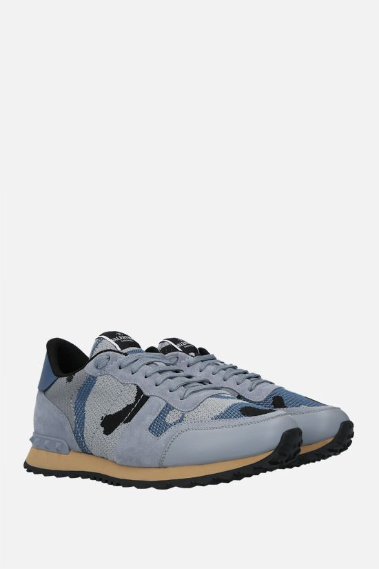 VALENTINO GARAVANI: Rockrunner Camouflage suede and mesh sneakers Color Blue_2