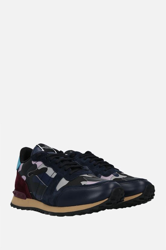 VALENTINO GARAVANI: Rockrunner Camouflage nappa and suede sneakers Color Purple_2